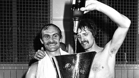 Mick Mills and Frans Thijssen celebrate winning the UEFA Cup with Ipswich Town in 1981