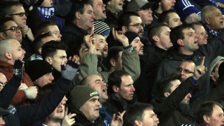 Fans ready to cheer on Ipswich in the FA Cup 3rd round replkay against Southampton at Portman Road.