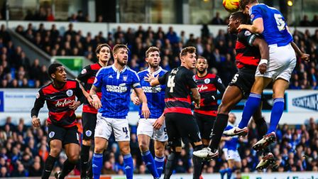 Christophe Berra and Nedum Onuoha clash heads leading to the Ipswich man receiving treatment for a c