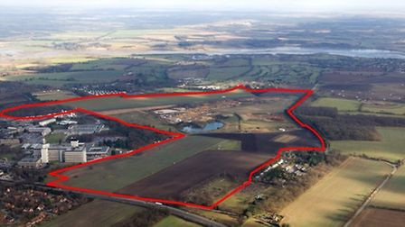 The area around Adastral Park at Martlesham Heath which could be developed with 2,000 homes and othe