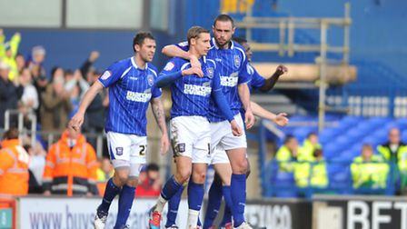Ipswich Town v Bristol City NPower Championship Celebrations after Andy Drury scores the third goa