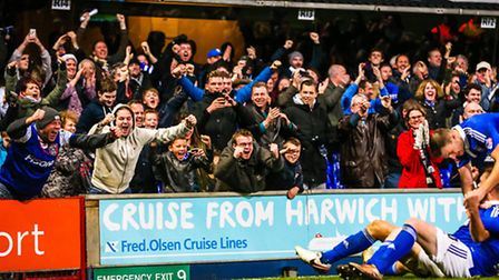 Town fans celebrate Luke Chambers injury time winner in the Ipswich Town v Queens Park Rangers (Cham