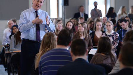 Prime Minister David Cameron holds a Q&A with students at University Campus Suffolk in Ipswich ahead