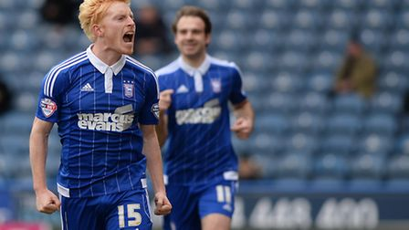 Ben Pringle celebrates his goal at Huddersfield during the first half