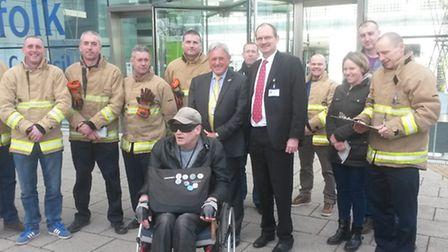 Firefighters and other protesters are joined by LibDem leader David Wood and Labour leader Sandy Mar