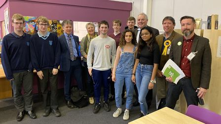 Parliamentary candidates standing for the South Norfolk seat with students from Diss High School, in