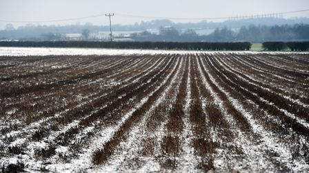 A dusting of snow in West Suffolk. Fields at Risby.