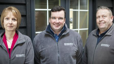 Charlie Dalton, centre, managing director of Smart Garden Offices, with Debi Knott and Tony Graves,