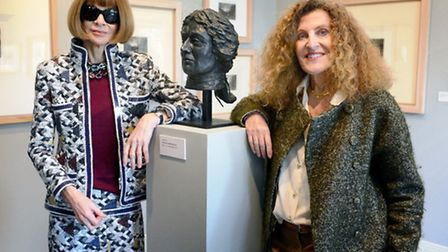 Anna Wintour and Nicole Farhi at Gainsborough's House with the new bust of Gainsborough