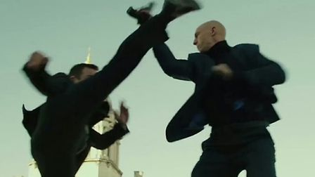 Anthony Skrimshire doubles for Mark Strong (right) in Grimsby