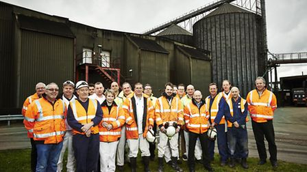 The Muntons Stowmarket malting team. George Irving is on the right.