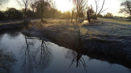 Frosted river bank in Stisted. Image: Peter Bash