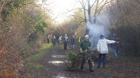 Volunteers at work at Clare Castle Country Park