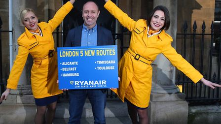 Ryanair chief marketing officer Kenny Jacobs launching the airline's new London winter 2016 schedule