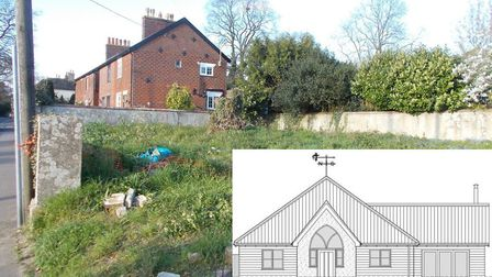 The former Baptist burial site in Diss and the bungalow planned for the site (inset). Pictures: Conc