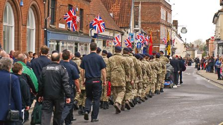 Young members of harleston Army Cadet Force during the First World War remembrance parade to the tow