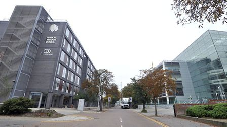 The Ipswich Borough Council and Suffolk County Council Buildings on Russell Road in Ipswich.
