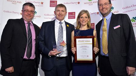Andrew and Heidi Bingham pictured with John Briggs and Richard Todd of Golden Charter)