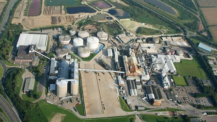 Aerial photo of the sugar factory at Bury St Edmunds by Mike Page.