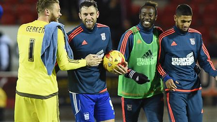 Daryl Murphy with the match ball after getting his hat-trick at Rotherham earlier in the season