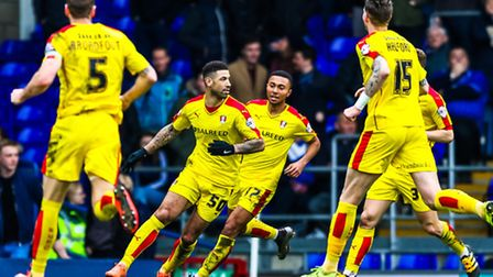 Leon Best celebrates after scoring the opening goal for Rotherham United in the Ipswich Town v Rothe