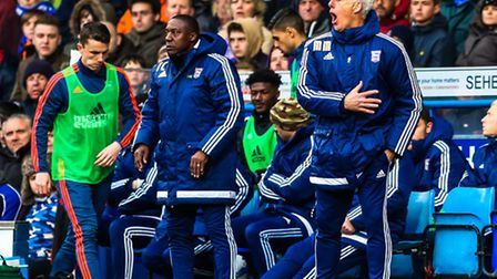 Ipswich Town manager Mick McCarthy waving his players forward today. Picture: Steve Wallerww
