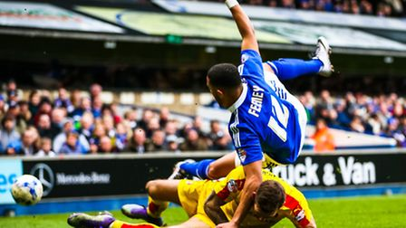 Towns new signing Liam Feeney collides with Joe Mattock during the Ipswich Town v Rotherham United (