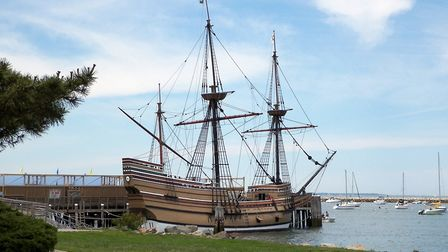The Mayflower II, a replica of the 17th-century ship celebrated for transporting the Pilgrims to the