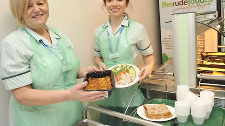 Hotel Services Supervisors Alison Rutland and Anna Banaszczak give out food samples at Colchester Ge