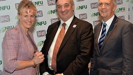 NFU president Meurig Raymond (centre) with deputy Minette Batters (left) and vice president Guy Smit