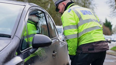 Pc Andy Masterson checks motorists speeds on the A140 at Stonham Parva