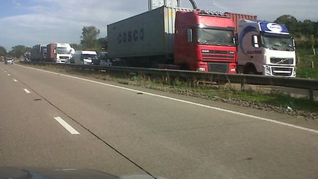 Tailbacks on A14 at Seven Hills. Library image.