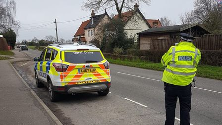 Speed checks being carried out on the B1077 at Winfarthing, near Diss. Picture: Norfolk Police