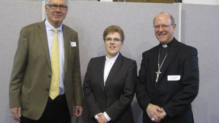 From left, Mike Simpson of EPC Marketing, Renata Chester of Suffolk Life and the Rt Rev Martin Seel