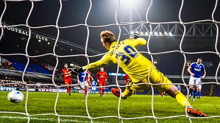 Daryl Murphy beats Blackburn keeper JasonSteele from the spot to take Town into a 1-0 lead in the