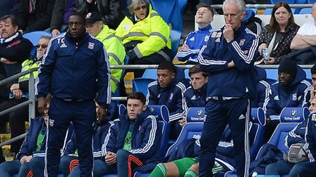 Mick McCarthy looks thoughtful during the second half at Cardiff on Saturday