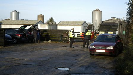 Security measures at the entrance to Homefield Farm at Athelington, near Eye, following the bird flu
