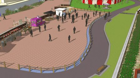 A CGI showing how Felixstowe's boating lake area will look after the work this spring
