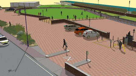 A CGI showing how Felixstowe's boating lake area will look after the work this spring.
