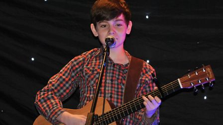 Leon O'Leary from Saxmundham School in the acoustic category at Battle of the Bands