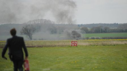 The aftermath of the crash at the Old Buckenham Airfield. Photo : Sonya Duncan