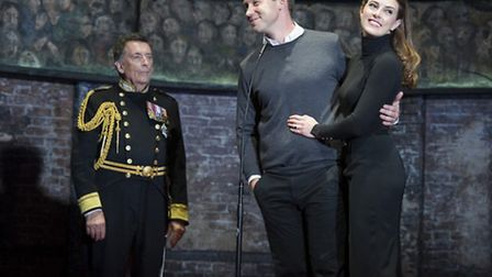 Robert Powell as Charles Ben Righton as William and Jennifer Bryden as Kate in King Charles III