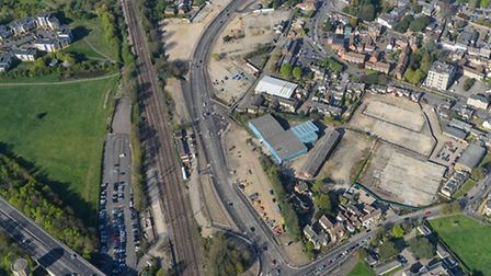 An aerial view of the Huntingdon West of Town Centre Link Road, built by Ipswich-based Jackson Civil