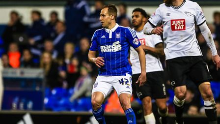Luke Varney in action during the second half of the Ipswich Town v Derby County (Championship) match
