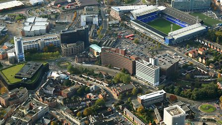 Mike Page's aerial shot of Ipswich town centre.