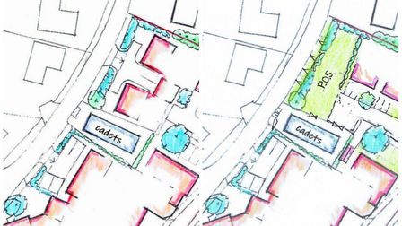 Before and after: Changed illustrative plans for new homes in Harleston, which now includes an open
