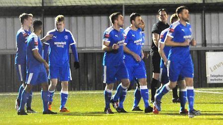 Leiston celebrate scoring after 56 seconds. It was enough to seal victory