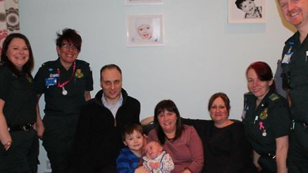 Ambulance crews meet family of mum and baby they helped to save, Natalie Pellls and Lucas Self
