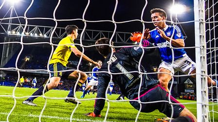 Dimitrios Konstantopoulos saves a Jonas Knudsen effort during the Ipswich's defeat at home to Middle