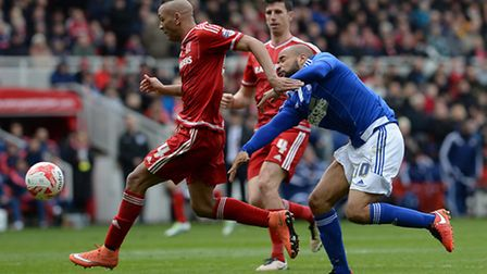 David McGoldrick cannot fins a way through the Middlesbrough defence as Emilio Nsue tidies up at the